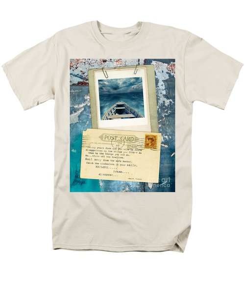 Poloroid Of Boat With Inspirational Quote Men's T-Shirt  (Regular Fit) by Jill Battaglia