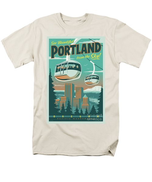 Portland Tram Retro Travel Poster Men's T-Shirt  (Regular Fit) by Jim Zahniser