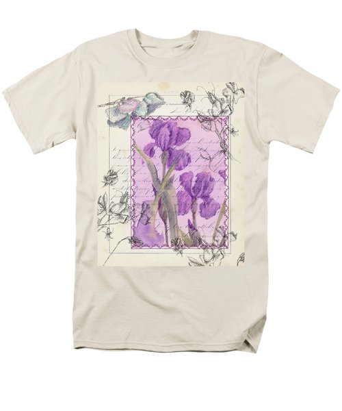 Men's T-Shirt  (Regular Fit) featuring the drawing Purple Iris by Cathie Richardson