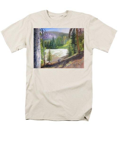 Men's T-Shirt  (Regular Fit) featuring the painting Raging River by Sherril Porter