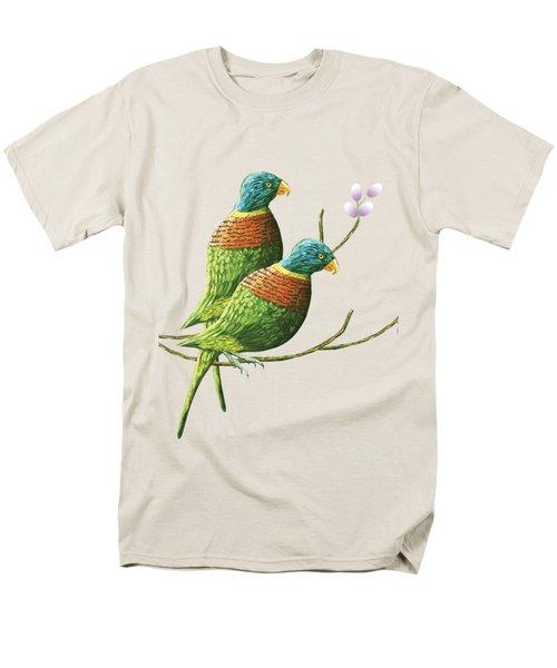 Rainbow Lorikeet Of Australia B Men's T-Shirt  (Regular Fit) by Thecla Correya