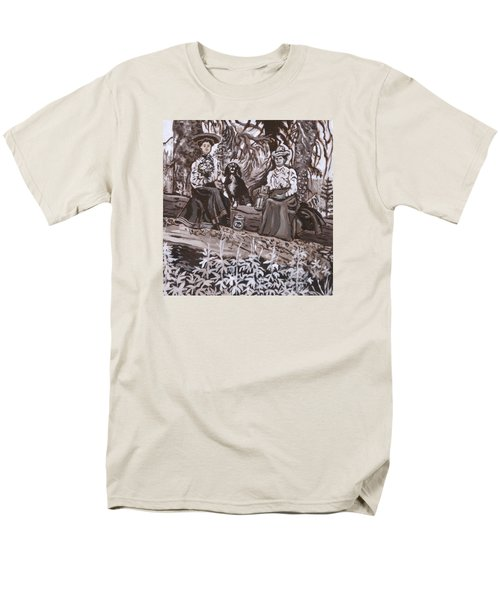 Men's T-Shirt  (Regular Fit) featuring the painting Ranch Women Picking Berries Historical Vignette by Dawn Senior-Trask
