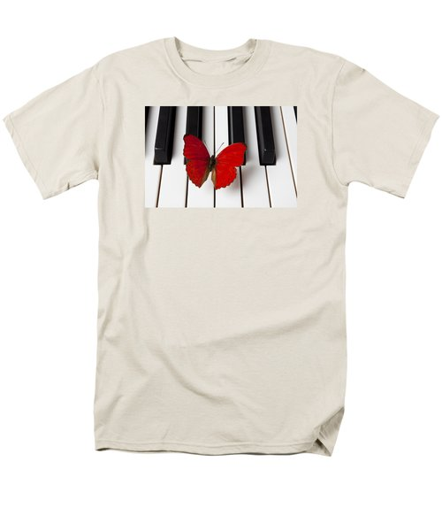 Red Butterfly On Piano Keys Men's T-Shirt  (Regular Fit) by Garry Gay
