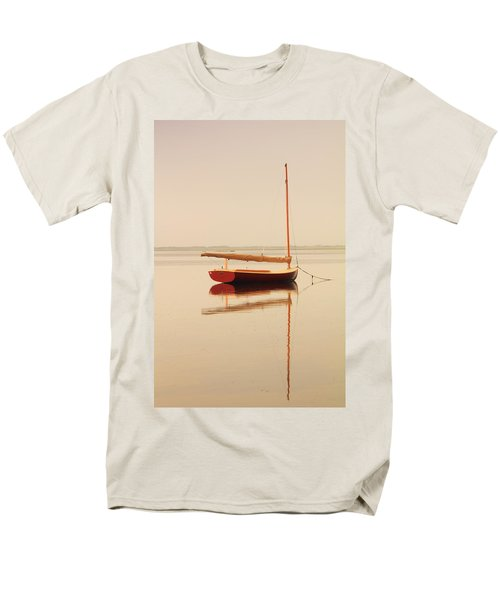 Red Catboat On Misty Harbor Men's T-Shirt  (Regular Fit) by Roupen  Baker