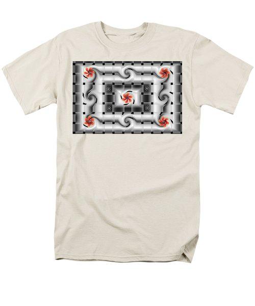 Red Floral Fractal Men's T-Shirt  (Regular Fit)