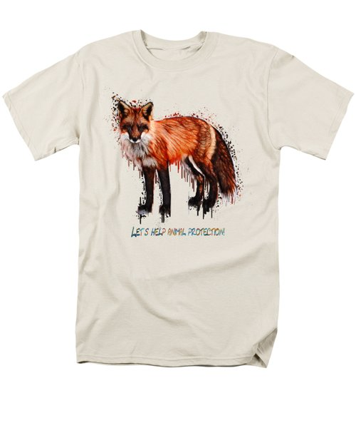 Red Fox In Tears Digital Painting Men's T-Shirt  (Regular Fit) by Georgeta Blanaru