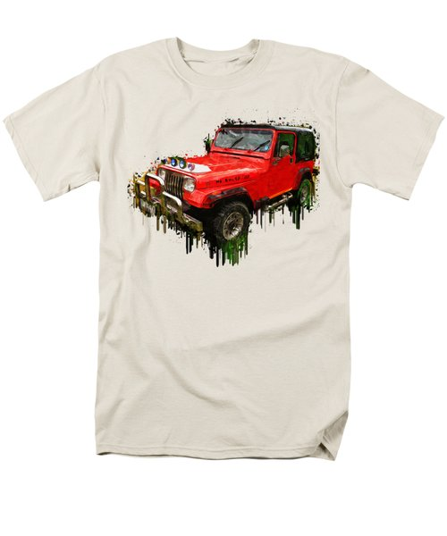 Red Jeep Off Road Acrylic Painting Men's T-Shirt  (Regular Fit) by Georgeta Blanaru