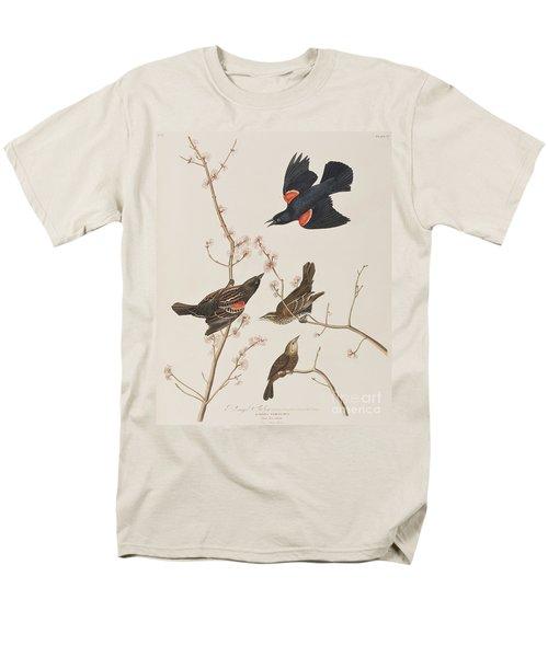 Red Winged Starling Or Marsh Blackbird Men's T-Shirt  (Regular Fit) by John James Audubon