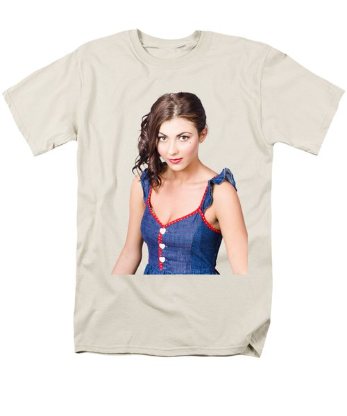 Retro Pin-up Girl In Blue Denim Dress Men's T-Shirt  (Regular Fit)