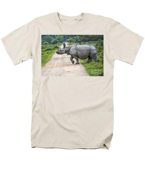 Rhino Crossing Men's T-Shirt  (Regular Fit) by Pravine Chester