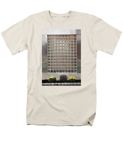 Men's T-Shirt  (Regular Fit) featuring the photograph Rippled Glsss Window Segments Above The Garden by Gary Slawsky
