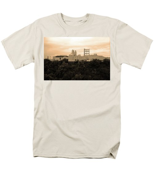 Men's T-Shirt  (Regular Fit) featuring the photograph Rochester, Ny - Factory On A Hill Sepia by Frank Romeo