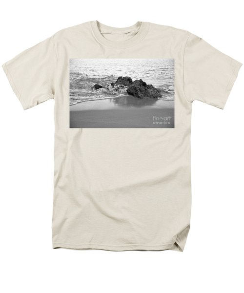 Rock And Waves In Albandeira Beach. Monochrome Men's T-Shirt  (Regular Fit) by Angelo DeVal