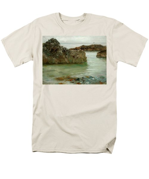 Men's T-Shirt  (Regular Fit) featuring the painting Rocks At Newport by Henry Scott Tuke