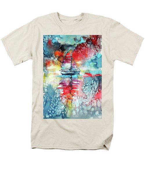 Sailboat At The Sinshine Men's T-Shirt  (Regular Fit) by Kovacs Anna Brigitta