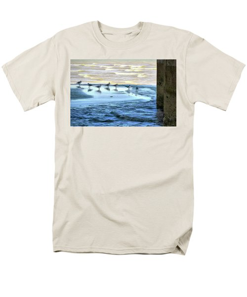 Seagulls At Waters Edge Men's T-Shirt  (Regular Fit) by Cedric Hampton
