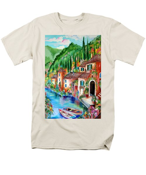 Men's T-Shirt  (Regular Fit) featuring the painting Serenity By The Lake by Roberto Gagliardi