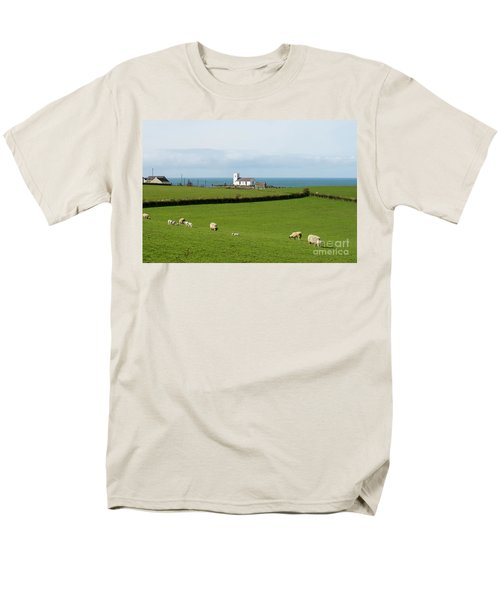 Men's T-Shirt  (Regular Fit) featuring the photograph Sheep Grazing On Irish Coastline by Juli Scalzi