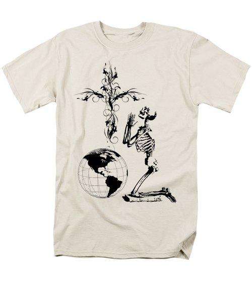 Skeleton Pryaing Cross Globe Men's T-Shirt  (Regular Fit) by Robert G Kernodle