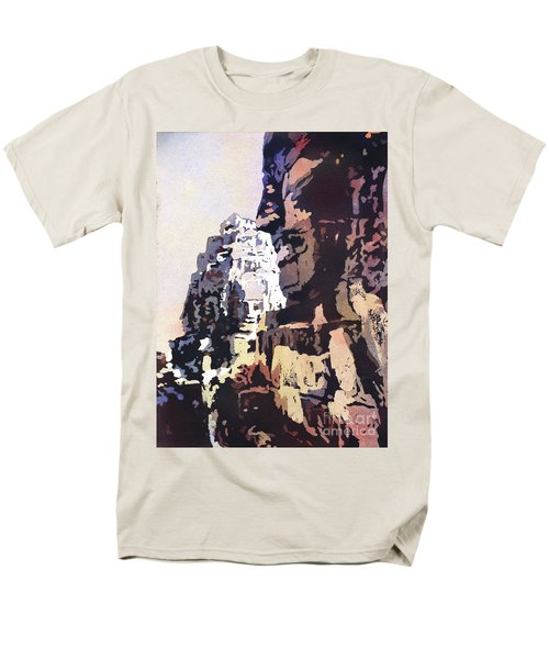 Men's T-Shirt  (Regular Fit) featuring the painting Smiling Faces- Bayon Temple, Cambodia by Ryan Fox