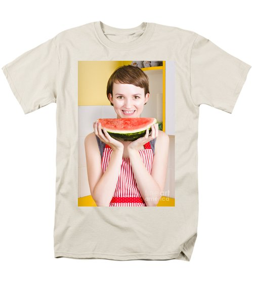 Smiling Young Woman Eating Fresh Fruit Watermelon Men's T-Shirt  (Regular Fit) by Jorgo Photography - Wall Art Gallery