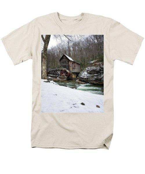 Snowing At Glade Creek Mill Men's T-Shirt  (Regular Fit) by Steve Hurt