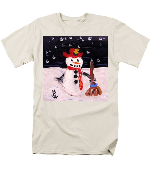 Men's T-Shirt  (Regular Fit) featuring the painting Snowman Under The Stars by Mary Carol Williams