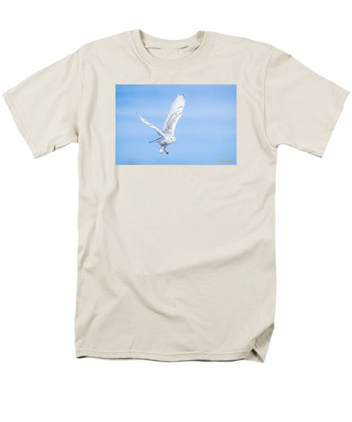 Men's T-Shirt  (Regular Fit) featuring the photograph Snowy Owls Soaring by Rikk Flohr