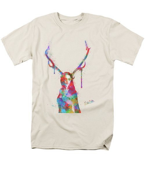 Men's T-Shirt  (Regular Fit) featuring the digital art Song Of Elen Of The Ways Antlered Goddess by Nikki Marie Smith