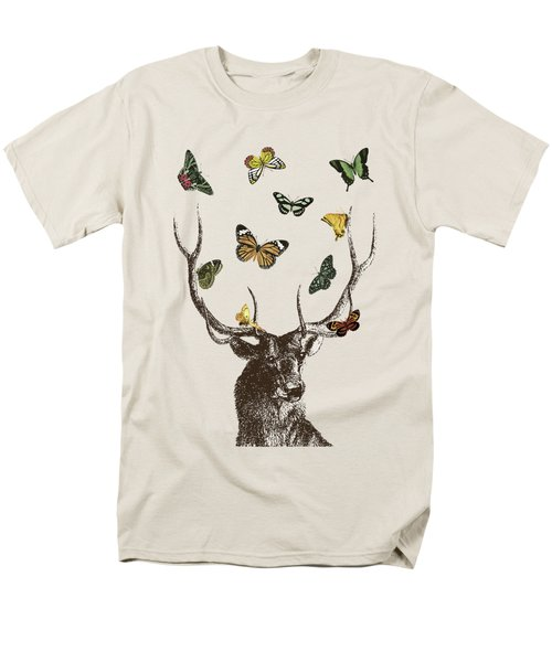Stag And Butterflies Men's T-Shirt  (Regular Fit) by Eclectic at HeART