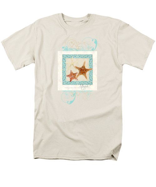 Starfish Greek Key Pattern W Swirls Men's T-Shirt  (Regular Fit) by Audrey Jeanne Roberts