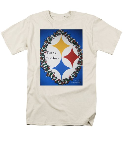 Men's T-Shirt  (Regular Fit) featuring the painting Steelers Christmas Card by Jeffrey Koss
