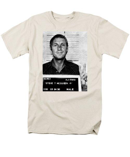 Steve Mcqueen Mug Shot Vertical Men's T-Shirt  (Regular Fit) by Tony Rubino