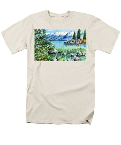 Men's T-Shirt  (Regular Fit) featuring the painting Summer At Lake Tahoe by Terry Banderas