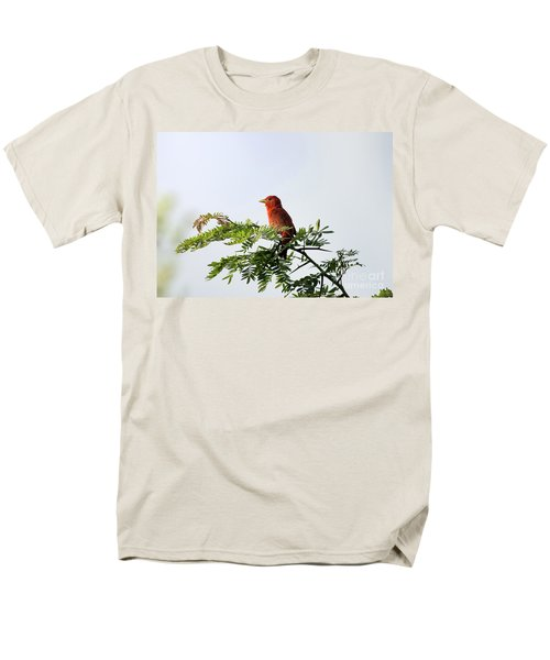 Men's T-Shirt  (Regular Fit) featuring the photograph Summer Tanager In Mesquite Scrub by Robert Frederick