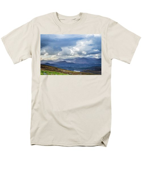Men's T-Shirt  (Regular Fit) featuring the photograph Sun Rays Piercing Through The Clouds Touching The Irish Landscap by Semmick Photo