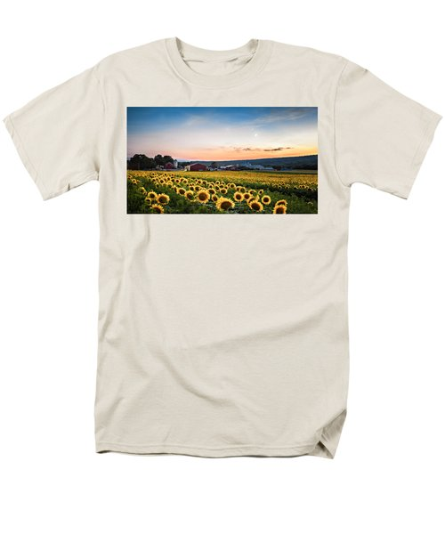 Men's T-Shirt  (Regular Fit) featuring the photograph Sunflowers, Moon And Stars by Eduard Moldoveanu
