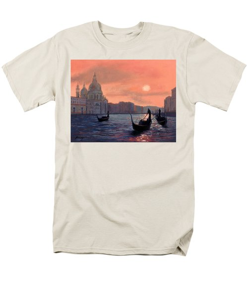 Men's T-Shirt  (Regular Fit) featuring the painting Sunset On The Grand Canal In Venice by Janet King