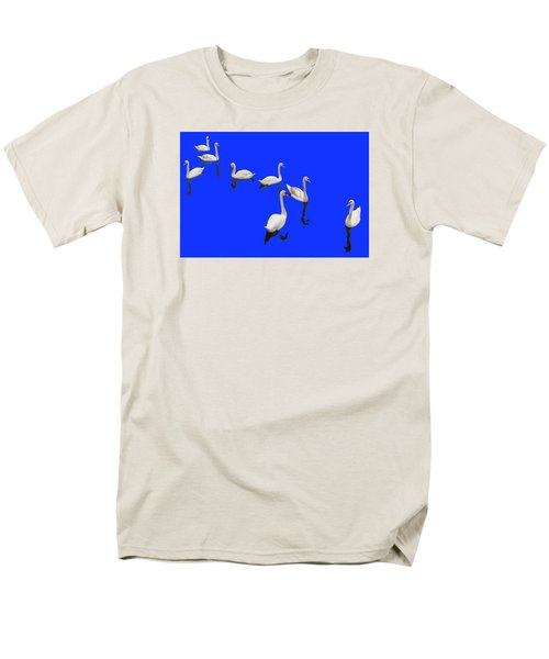 Men's T-Shirt  (Regular Fit) featuring the photograph Swan Family On Blue by Constantine Gregory