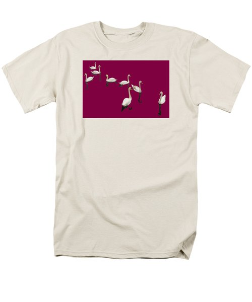 Men's T-Shirt  (Regular Fit) featuring the photograph Swan Family On Burgandy by Constantine Gregory