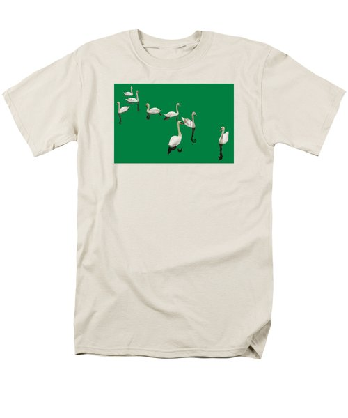 Men's T-Shirt  (Regular Fit) featuring the photograph Swan Family On Green by Constantine Gregory