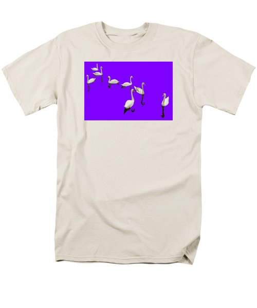 Men's T-Shirt  (Regular Fit) featuring the photograph Swan Family On Purple by Constantine Gregory