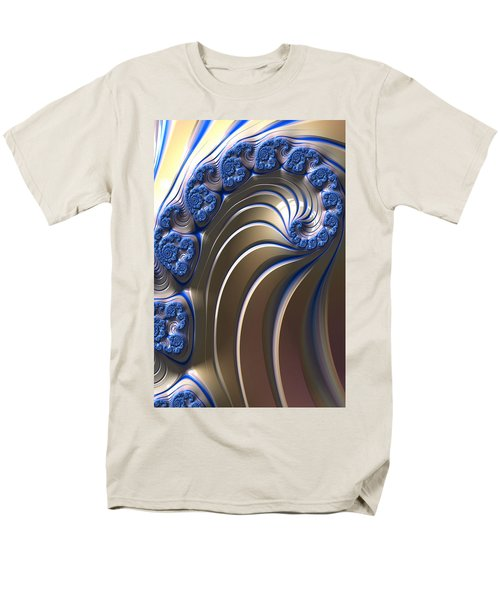 Swirly Blue Fractal Art Men's T-Shirt  (Regular Fit) by Bonnie Bruno