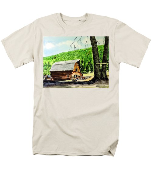 Men's T-Shirt  (Regular Fit) featuring the painting That Barn From That Movie by Tom Riggs