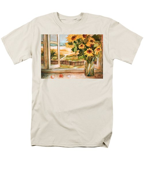 Men's T-Shirt  (Regular Fit) featuring the painting The Beach Sunflowers by Winsome Gunning