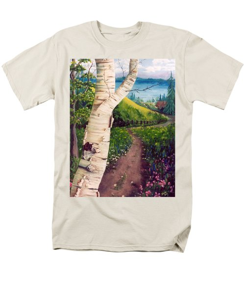 Men's T-Shirt  (Regular Fit) featuring the painting The Birch by Renate Nadi Wesley
