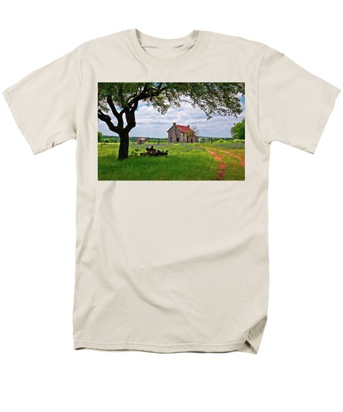 Men's T-Shirt  (Regular Fit) featuring the photograph The Bluebonnet House by Linda Unger