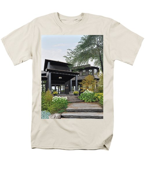 Men's T-Shirt  (Regular Fit) featuring the painting The Lodge At Fawn Island by Kenneth M Kirsch