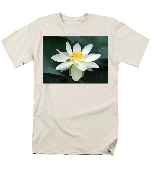 Men's T-Shirt  (Regular Fit) featuring the photograph The Lotus Flower The Frog And The Bee by Gary Crockett