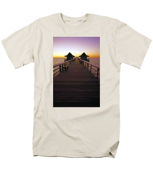 The Naples Pier At Twilight Men's T-Shirt  (Regular Fit) by Robb Stan